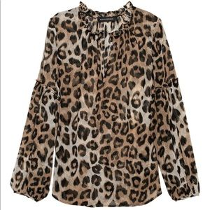 Banana Republic Sheer Leopard Print Peasant Top XL
